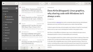 Screenshot of the main window of the NewsFlash feed aggregator