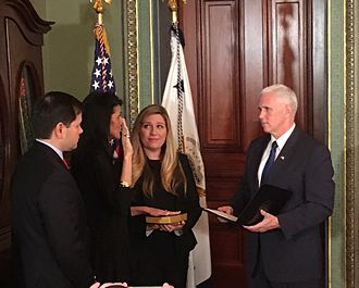 Cabinet of Donald Trump - Haley sworn in by Vice President Mike Pence on January 25, 2017