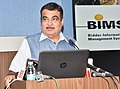 Nitin Gadkari addressing at the launch of the Bhoomi Rashi and PFMS linkage portal, Bidder Information Management System (BIMS) and 1st Annual Awards for Excellence in NH Projects, in New Delhi.JPG