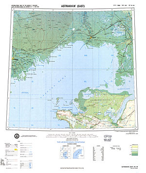 Mangyshlak Peninsula - Map of the northeastern part of Caspian Sea with the Mangyshlak Peninsula at the bottom.