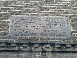 Liberty of Norton Folgate - Plaque on Norton Folgate Almshouses listing ten trustees in 1860