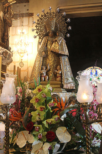 Virgen de los desamparados - Image of Our Lady of  Forsaken in the Royal Sanctuary of San Jose of the Mountain in Barcelona.