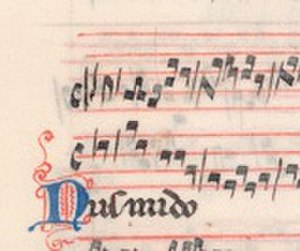 "Pluteo 29.1 - Folio 150 verso of Pluteo 29.1, showing the clausula ""Nusmido,"" the earliest known example of retrograde in music"