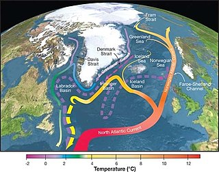 Atlantic meridional overturning circulation A system of currents in the Atlantic Ocean, having a northward flow of warm, salty water in the upper layers and a southward flow of colder, deep waters that are part of the thermohaline circulation