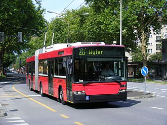 Trolleybuses in Bern - A Hess Swisstrolley in Bern, 2011.