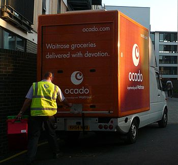 Ocado internet shopping delivery in progress