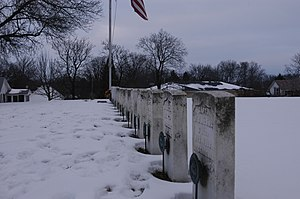 Stillman's Run Battle Site - The tombstones of the fallen are part of the memorial at the site of the Battle of Stillman's Run.