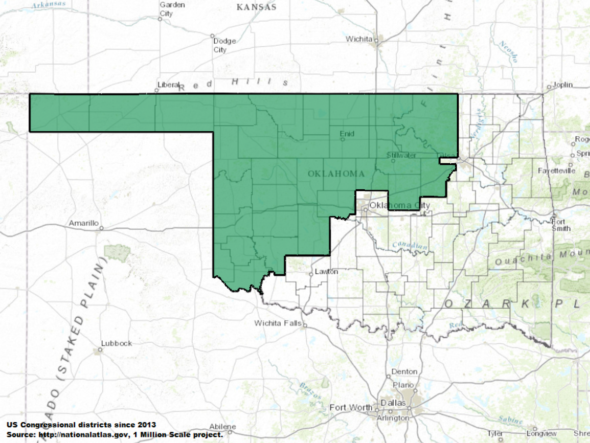 Oklahomas Rd Congressional District Wikipedia - Oklahoma in us map