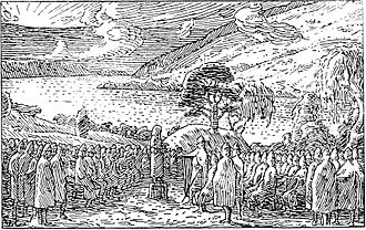 "Dale-Gudbrand - ""Olaf II of Norway talks to farmers at the Thing at Hundorp."" Illustration by Halfdan Egedius for the Separate Saga of St. Olaf in Heimskringla (J. M. Stenersen's deluxe edition of 1899)."
