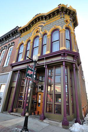 Constantine, Michigan - Old pharmacy built in 1877, Constantine, MI, USA.