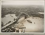 Orient liner SS Orford passing under Sydney Harbour Bridge turning towards Circular Quay, 19 March 1932 (6174058158).jpg