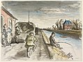 Original caption- Soldiers of the unit to which Captain Ardizzone was attached are seen travelling along a road by the side of a canal. On the right is a French angler who is intent on his sport and pays no attention to Art.IWMARTLD129.jpg