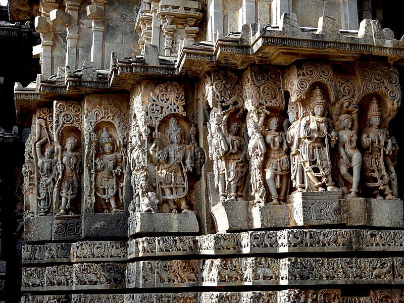 Temple Wall Panels : File ornate wall panel relief at hoysaleshwara temple