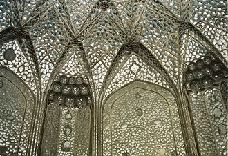 """Sheesh Mahal (Lahore Fort) - Sheesh Mahal, or """"Palace of Mirrors,"""" takes its name from the reflective glass tiles which embellish the interior."""