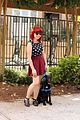 Outfit Photo with a Puppy- Polka Dot Top and Maroon Skirt (22061303600).jpg