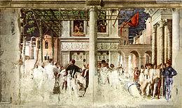 Ovetari, san cristorforo 05-06, Martirio e trasporto del corpo decapitato di san Cristoforo di Andrea Mantegna.jpg