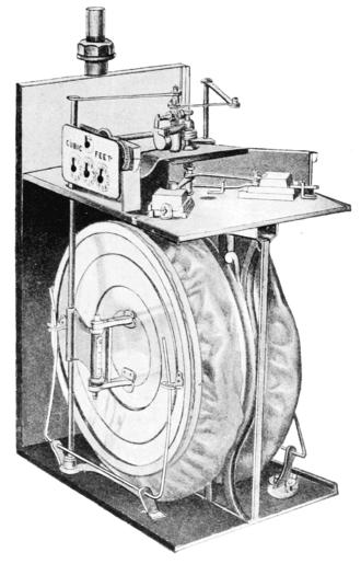 Gas meter - A diaphragm type gas meter, cutaway sketch from 1900