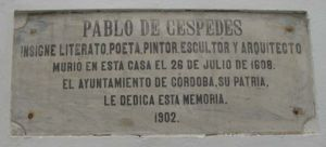 Pablo de Céspedes - Commemorative plaque of Pablo de Céspedes, final resting place, Córdoba, Spain