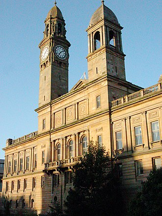 Renfrewshire (historic) - Paisley town hall, part of the dual system of local government within Renfrewshire.