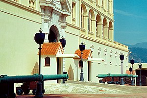 Illustration 17: Sentries and cannon guard the entrance to the restored palace