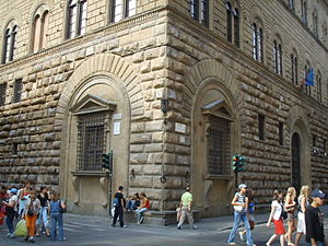 "Palazzo Medici Riccardi - Michelangelo's ""kneeling windows"", a feature later copied by the Medici at their Palazzo Pitti, also in Florence."