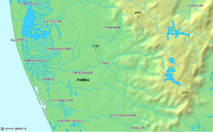 Pamba River - Labelled map of Pamba