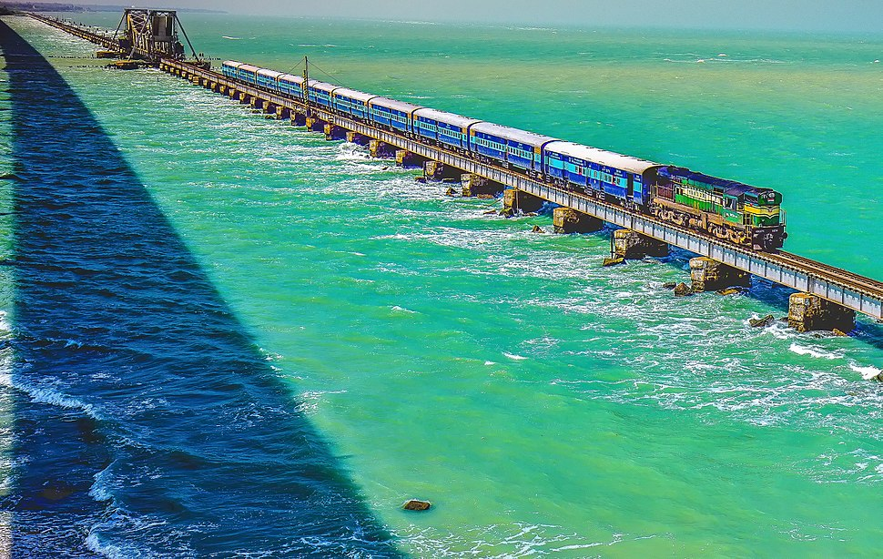 Pamban Bridge Train Passing