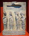 Panel with bodhisattvas, cf pair in Freer Gallery, China, probably Hebei province, Tang dynasty, 8th century AD, limestone - Östasiatiska museet, Stockholm - DSC09297.JPG