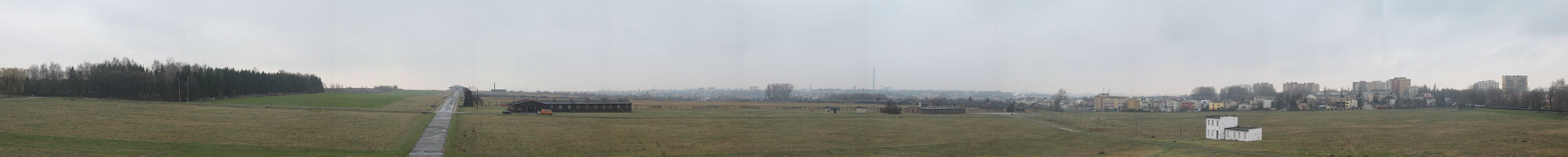 A panorama of KZ Majdanek as seen from the Soviet memorial there.