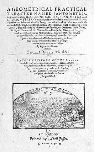 Leonard Digges (scientist) - Title page of Leonard Digges's Pantometria (1591)