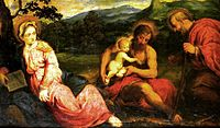 Paris Bordone - Holy Family in a Landscape with John the Baptist.jpg