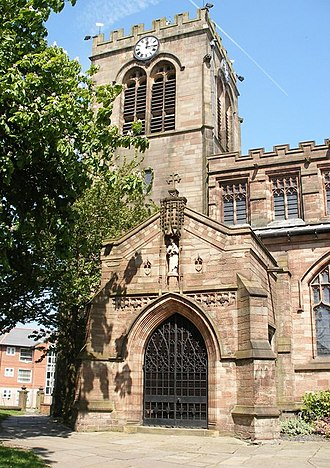 Leigh, Greater Manchester - Door of Church of St Mary the Virgin