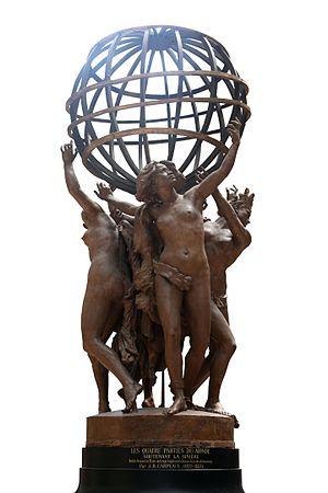 Fontaine de l'Observatoire - Image: Partie du monde soutenant la sphere IMG 8365 white
