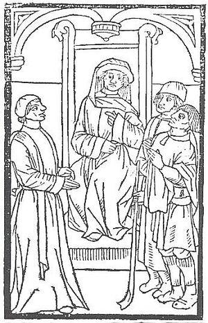 La Farce de maître Pathelin - Illustration of the trial scene