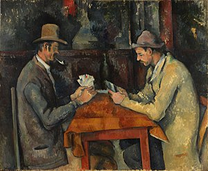 Game - The Card Players, an 1895 painting by Paul Cézanne depicting a card game.