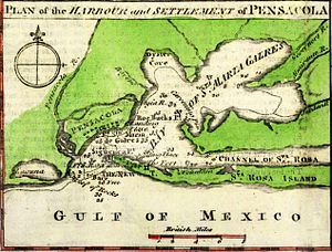 Siege of Pensacola - A 1763 map depicting Pensacola Bay