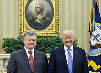 Ukraine–United States relations - U.S. President Donald Trump meets with Ukrainian President Petro Poroshenko, June 2017.