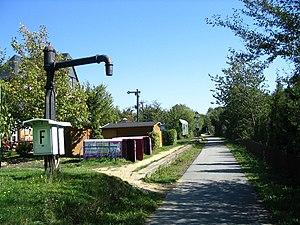 Pfalzfeld - Schinderhannes-Radweg (cycle path) in the Pfalzfeld area, railway station