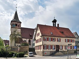 Stuttgart-Weilimdorf - Old town hall and Oswald Church