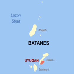 Map of Batanes showing the location of Uyugan