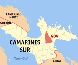 Map of Camarines Sur showing the location of Goa