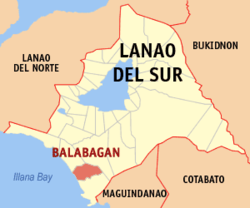 Map of Lanao del Sur with Balabagan highlighted