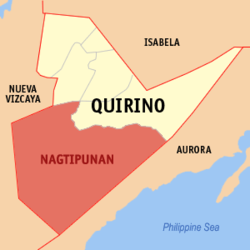 Map of Quirino showing the location of Nagtipunan