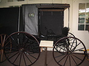Jump seat - A jump seat, Phaeton carriage, c.1860 at Ellwood House, DeKalb, Illinois, USA.
