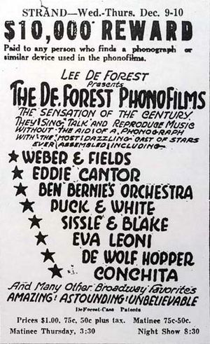 Sound film - Newspaper ad for a 1925 presentation of De Forest Phonofilms shorts, touting their technological distinction: no phonograph.