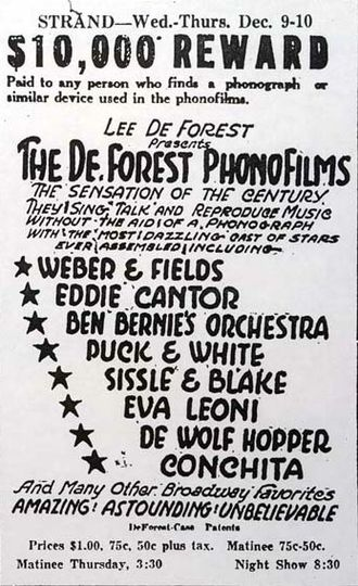 Optical sound - Newspaper ad for a 1925 presentation of De Forest Phonofilms shorts, touting their technological distinction: no phonograph.