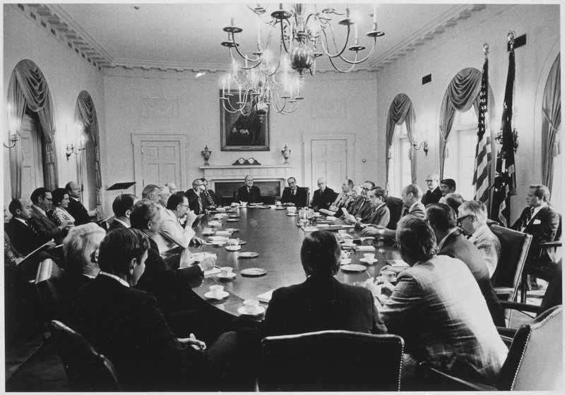 Photograph of President Richard M. Nixon Conducting a Meeting with Members of the Republican Congressional Leadership... - NARA - 187018
