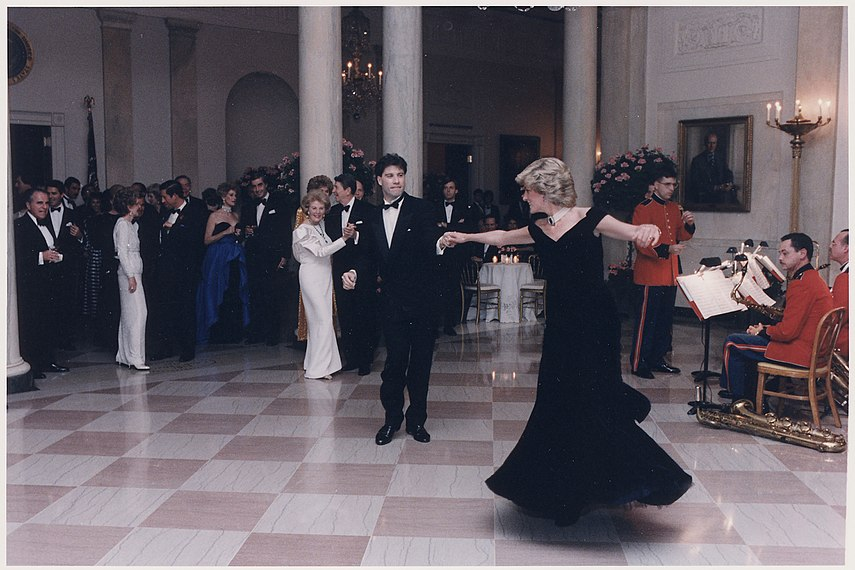 Photograph of Princess Diana dancing with John Travolta at a White House dinner for the Prince and Princess of Wales - NARA - 198569