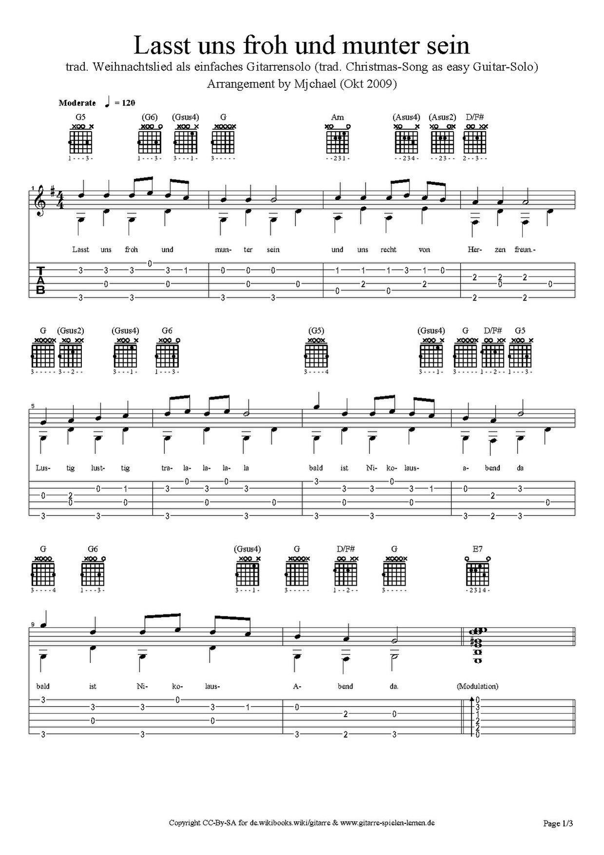 Liederbuch/ Lasst uns froh und munter sein/ Gitarrentabulatur ...
