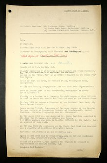 British Army intelligence file for Erskine Childers